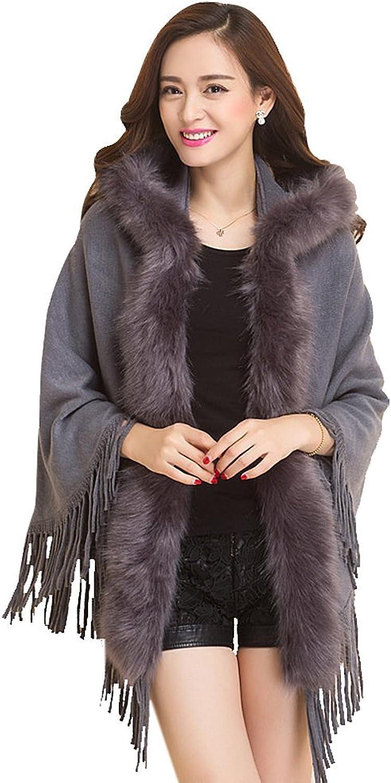 Drasawee Women's Luxury Faux Fur Shawl Wraps Tassel Poncho Cape Cardigan Coats Grey