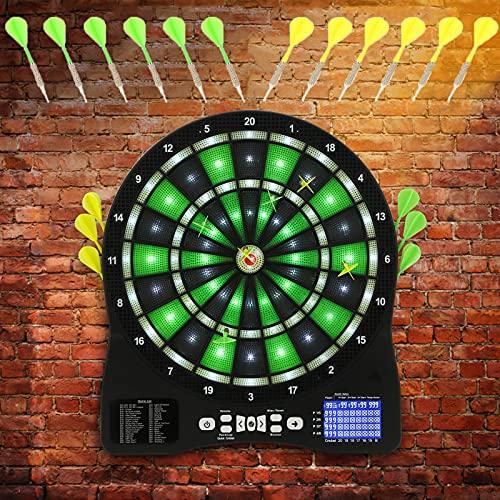 """Kacsoo 15,5\"""" Elektronische Dartscheibe mit LED beleuchteter automatischer Spielstandsanzeige, Digital Light Game Electric Dart mit Adapter, Ausgestattet mit 12 Weichplastikspitzen-Darts"""
