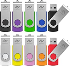 16GB Flash Drives Bulk 10 Pack USB 2.0 16 GB Thumb Drive Jump Drive Pen Drive Memory Drive Zip Drive with LED Light for Storage by Imphomius - 10Pack,Multicoloured