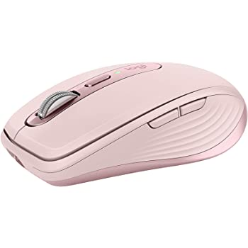 Logitech MX Anywhere 3 Compact Performance Mouse, Wireless, Comfort, Fast Scrolling, Any Surface, Portable, 4000DPI, Customizable Buttons, USB-C, Bluetooth - Rose