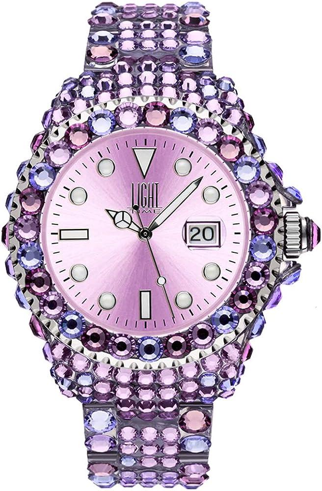 Light time mediterraneo, orologio per donna, in policarbonato con 300 cristalli preciosa L602G
