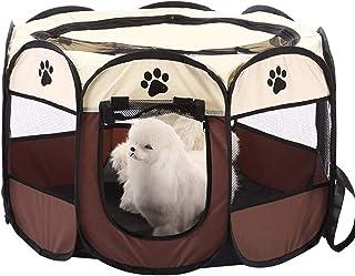 Fabric Pet Play Pen Folding Pet Dog Cat Rabbit Pig Playpen Pet Kennel Cage, Large, Brown