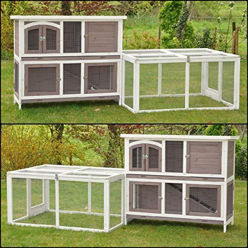 nanook Balu Hasenstall-System Set, doppelstöckiger Kaninchenstall mit Freigehege für Kleintiere, wetterfester Holz-Kleintierstall, 233x 90x 104cm