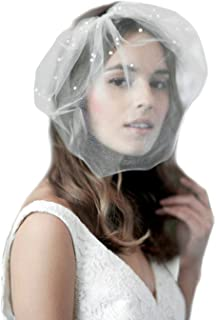 Barogirl White Birdcage Veil Short Wedding Veil Soft with Comb Bridal Headwear for Women