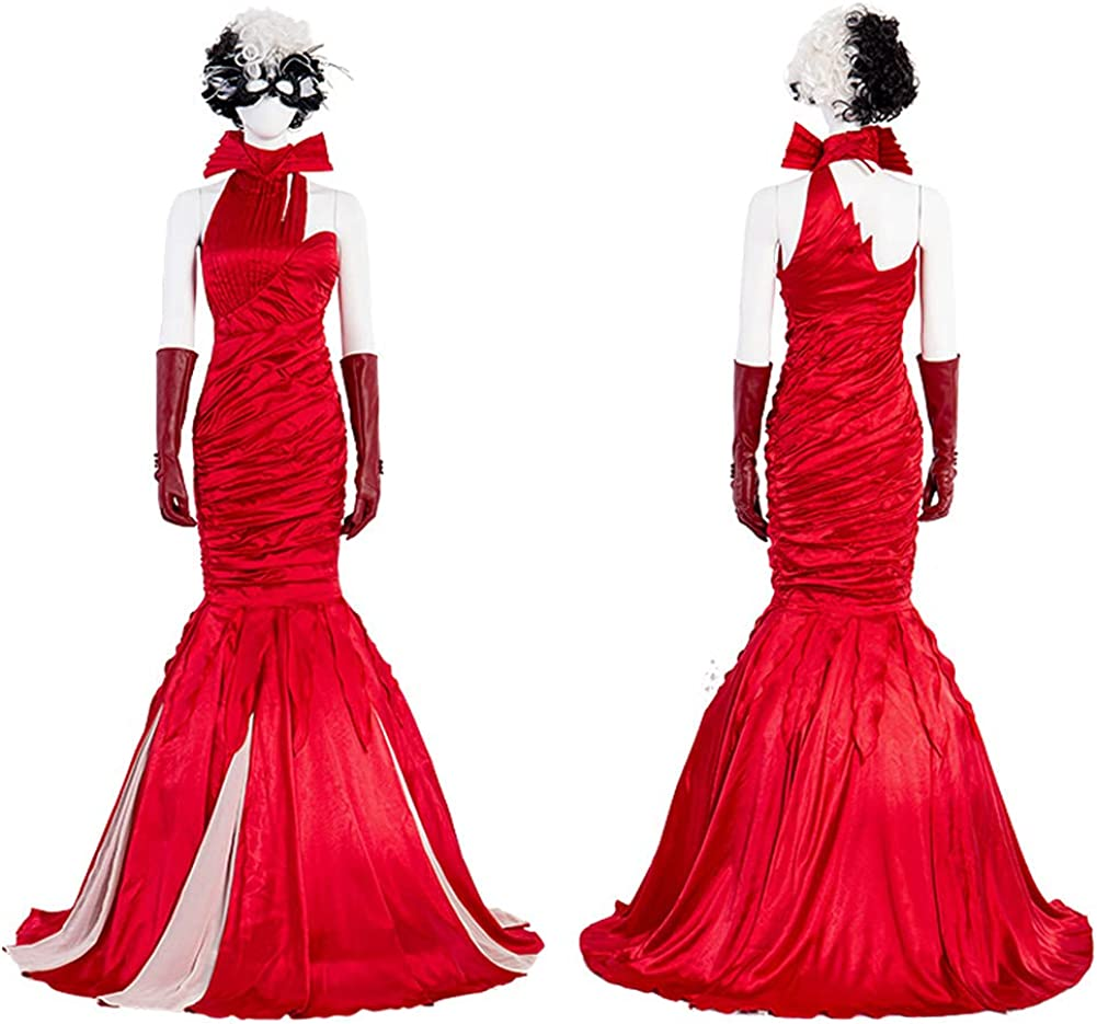 4 years warranty Women Cruella Devil Cosplay Costume Red Dress with Long M New arrival Gloves