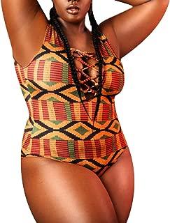 Women's African Tribal Kente Printed High Cut Padded One Piece Swimsuit Swimwear
