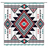 Southwestern Aztec Shower Curtain Southwest Native American Vintage Tribal Navajo Ethnic Boho Geometric Triangular Iconic Zigzags Abstract Bathroom Home Decor with Hooks,Black White Red