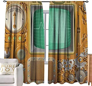 Andrea Sam Curtain Set Retro,Industrial Victorian Style Grunge Steampunk TV Gauger Retro Clockwork, Orange Green Pale Grey with Grid Composition Decorative Curtains for Living Room,W84 x L84 inch