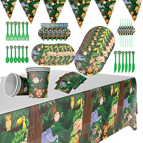 Juego de vajilla desechable para fiesta de 60 piezas, diseño de animales de la jungla, para 6 niños, para fiestas de cumpleaños, fiestas de bebés, etc.