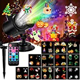 Christmas Projector Light, Enow Outdoor Holiday Party Light 2-in-1 Ocean Wave Waterproof LED Landscape Light Indoor Light for Home Xmas Garden Decoration Projector, 12 Slides 10 Colors and Controller