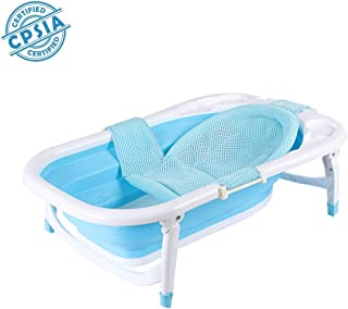 Baby Portable Collapsible Bathing Tub, SKYROKU Baby Bath tub for Newborn Infant Child with Foldable Safe and Sturdy Non Slip for Easy Bathing (Blue)