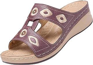 BRISEZZ dames sandaal, dames sleehak pantoffel veelkleurige geborduurde sandalen open teen pomp schoenen strandschoenen me...