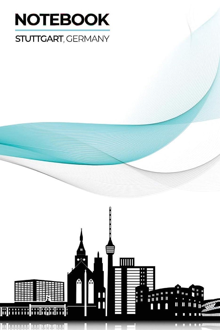かき混ぜるエクスタシー偶然のNotebook Stuttgart, Germany: ~ Lined Ruled with Notes Section Box Modern City Skyline Themed Notebooks and Journals