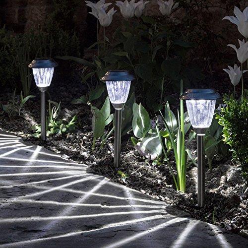 Lights4fun - 3 Lampioncini Decorativi in Acciaio Inossidabile con LED ad Energia Solare