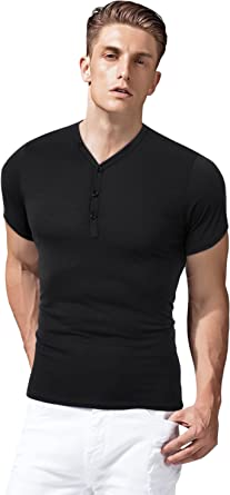 Clearlove Men's Basic Casual Work Henley Shirts Tops