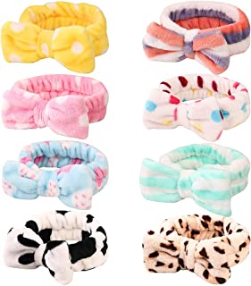 8 Pack Spa Headband, Coral Fleece Makeup Headband Cosmetic Headband for Washing Face, Bow Headbands for Shower Terry Cloth Headbands for Women Facial Hair Band