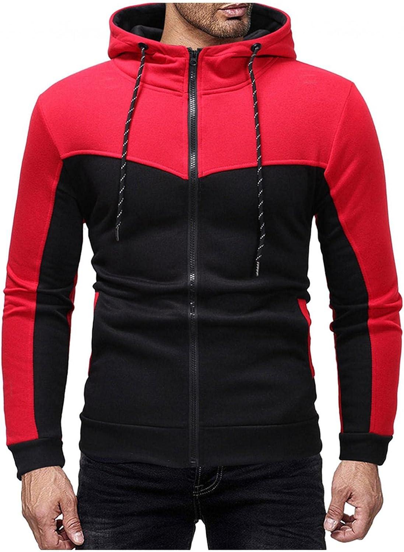 Hoodies for Men Men's Fashion Hoodies & Sweatshirts Casual Slim Long-sleeve Color-blocking Zipper Hooded Pocket Cardigan