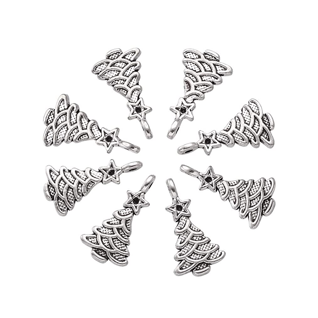 Craftdady 20pcs Tibetan Style Plated Silver Christmas Tree Pendant Antique Xmas Charm for DIY Jewelry Making Findings Crafting Gifts Decoration Accessory