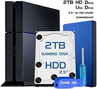 Skywin PS4 High Performance 2TB Playstation 4 Hard Drive Upgrade kit for PS4 storage expansion with Guide, USB Flash Drive, Screwdriver, PS4 HDD 2TB, and HD Enclosure