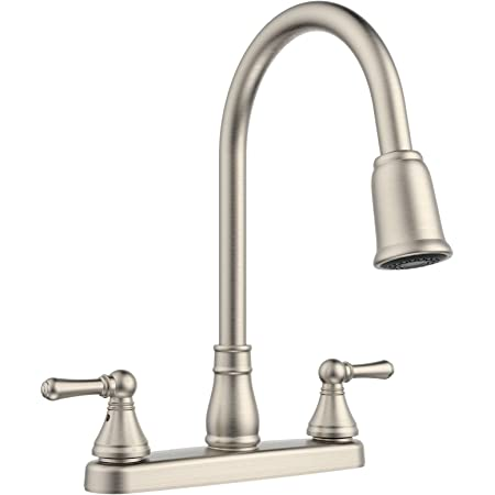 Belanger Ebe78wbn2 Non Metallic Two Handle Pull Down Sprayer Kitchen Faucet Brushed Nickel Amazon Com