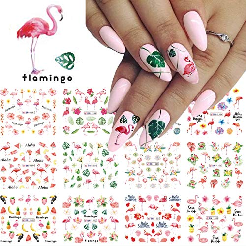 Flamingos Nail Art Stickers Decals Acrylic Nail Supplies Designer Nail Sticker for Nail Art 12 Pcs Water Transfer Flamingos Flower Green Leaves Spring&Sunmer Nail Accessories Decorations for Women Girls