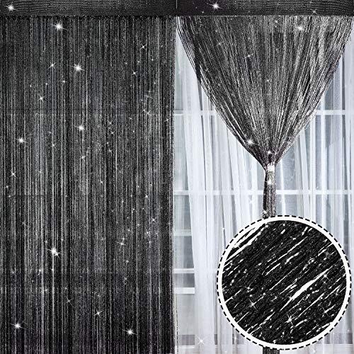 2 Pezzi Tende Fili Glitterate Pannelli Tenda di Cotone Finestra Porta Stringa Tende Antimosche, 100 x 200 cm (Nero)