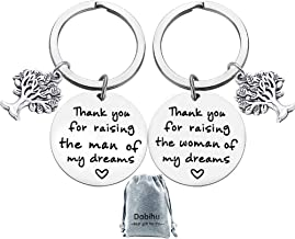 Mother and Father in Law Gifts, Thank You for Raising The Woman/Man of My Dreams Keychain Birthday Christmas Gifts for Father of Bride or Groom And Mother of The Groom or Bride(2pack)