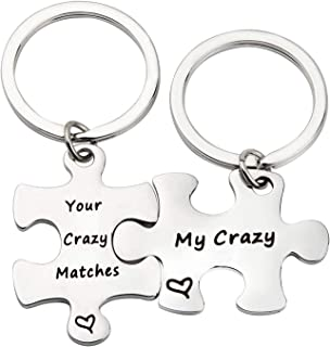 Your Crazy Matches My Crazy Couples Keychain Set Puzzle Piece Gift for Boyfriend,Girlfriend