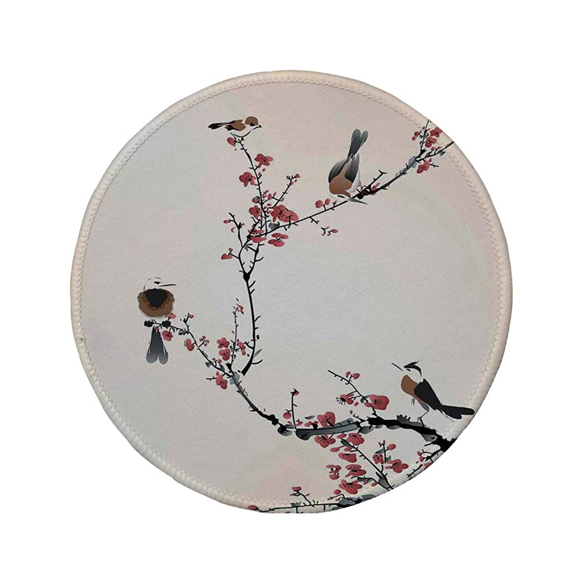 Non-Slip Rubber Round Mouse Pad,House Decor,Stylized Blooming Japanese Cherry Tree Watercolor Painting Effect Artistic Design Print,Pink Brown,11.8