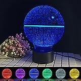 Death Star Light, 3D Optical Illusion Desk Lamp 7 Color Change Decor LED Lamp Night Light for Star Wars Fans Solution for Nightmares