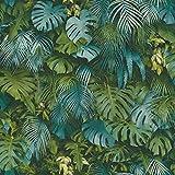 Papier peint jungle bleu canard | Papier peint monstera 37280-3 | Papier peint bleu canard tropical | Papier peint tropical chambre & salon