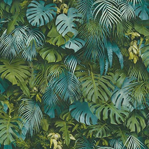 Papier peint jungle bleu canard   Papier peint monstera 37280-3   Papier peint bleu canard tropical   Papier peint tropical chambre & salon