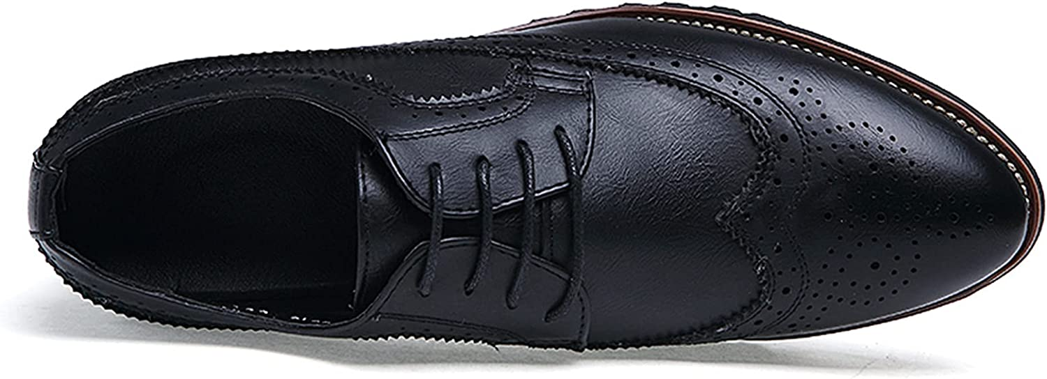 Zhousensen Men's Dress Shoes Carved British Business Casual Leather Shoes Professional Office Lace-Up Oxford Shoes