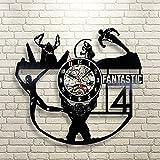 Luziang Vinyl Record Wanduhr Fantastic 4 aushöhlen CVD Vinyl Disc Wanduhr Retro-selbstgemachtes...