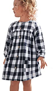 Girl Casual Dress Long Sleeve Buffalo Check Black White/Red Plaid Dresses for Kids(2-7yrs)