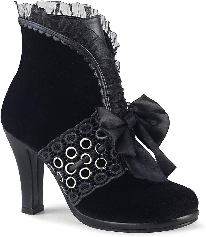 Demonia Damen Steampunk Ankle Stiefel Glam-110 Samt Samt schwarz  Wählen Sie aus den neuesten Marken wie