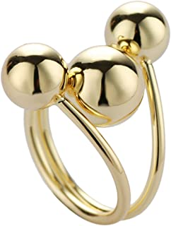 Classic women's ring fine gold ball with adjustable opening for interplanetary orbit