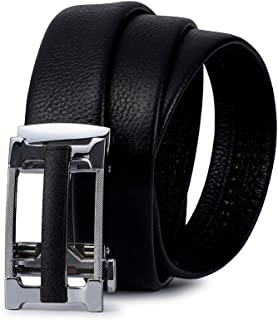 MOSASAURUS Men Genuine Leather Ratchet Dress Belt with 2 Automatic Buckle Classic Casual Stitched Belt Gift Box