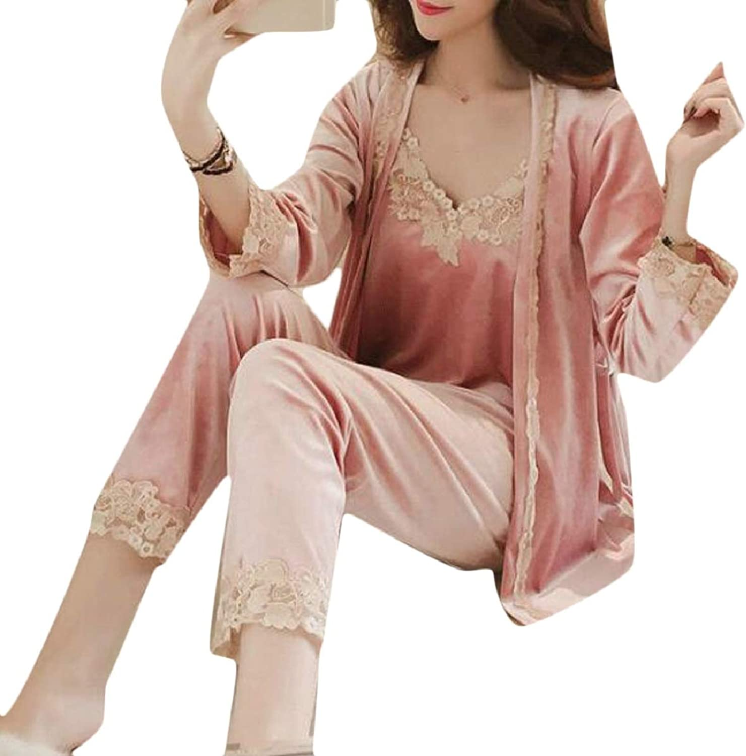 ZXFHZSCA Women's Cozy Velvet 3Piece Set Sexy Winter Lace Pajama Set with Robe