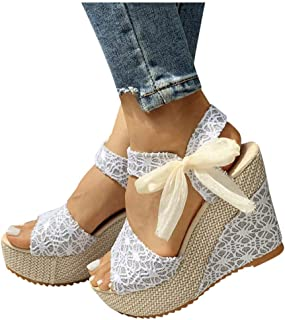 wlczzyn Sandals for Women Dressy, Boho Lace Up Casual Open Toe Wedge Sandals Comfortable Sandal Shoes Slipper Flip Flops
