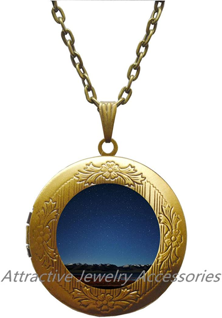 Moon sky long Locket Necklaces & Locket Pendants fashion outer space universe Galaxy Locket Necklace jewelry,QK142