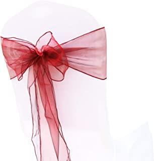 HCTX 25 Pcs Chair Sashes Chair Cover Burgundy Organza Ribbon Chiar Bows Sash for Wedding Banquet Reception Catering Decoration Party Events Supplies