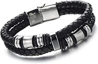 مچ بند COOLSTEELANDBEYOND دو ردیف چرمی بافته سیاه و سفید دستبند بنگ دستبند با تزئینات استیل سیاه
