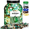Bravex Fire Glass 10 Pound for Fire Pit, High Luster Reflective Tempered Crushed Glass Rocks 1/2 Inch for Gas or Propane Fireplace Outdoors, Platinum, Copper, Light Green