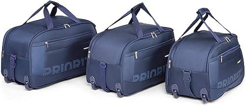 Lark Set Of 3 Navy Blue 2 Wheel Duffle Trolley Travel Luggage
