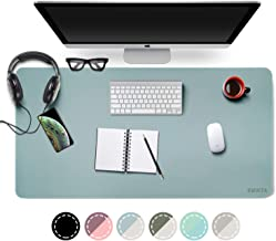 "Dual-Sided Desk Pad Office Desk Mat, EMINTA Ultra Thin Waterproof PU Leather Mouse Pad Desk Blotter Protector, Desk Writing Mat for Office/Home (Light Blue/Silver, 31.5"" x 15.7"")"