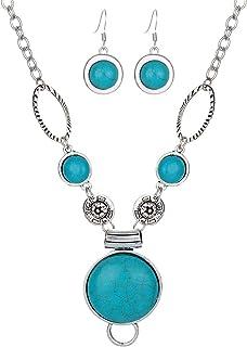Aiuin Collier de boucles doreilles Gourd-shaped Turquoise Pendentif Collier Femme Ensemble de bijoux de collier pendentif Boucles doreilles avec un sac de bijoux