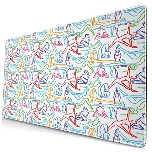HUAYEXI Alfombrilla Gaming,Impresión de Siluetas de Mujer de Doodle de Yoga,con Base de Goma Antideslizante,750×400×3mm