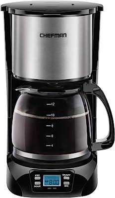 Chefman | Cafetera Programable | 12 tazas | Goteo | Filtro Reutilizable | Acero Inoxidable