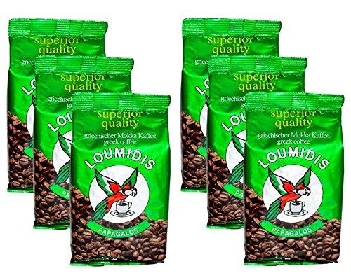 6x 200 g griechischer Mokka Kaffee Loumidis Mocca Cafe Spar Paket 1,2 kg aus Griechenland + Probiersachet 10 ml Olivenöl aus Kreta